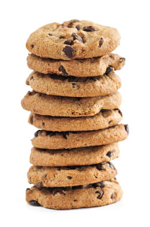 chocolaty: Tall stack of chocolate chip cookies isolated on white background Stock Photo