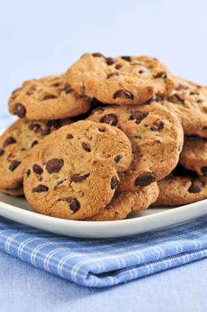 chocolaty: Plate with big pile of chocolate chip cookies