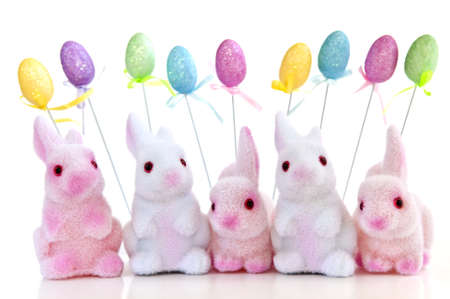 Cute Easter bunny toys and balloons isolated on white background Stock Photo - 4343716