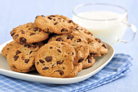 milk and cookies: Plate of chocolate chip cookies with milk Stock Photo