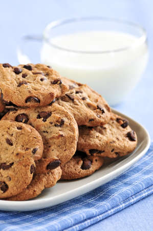 chocolaty: Plate of chocolate chip cookies with milk Stock Photo