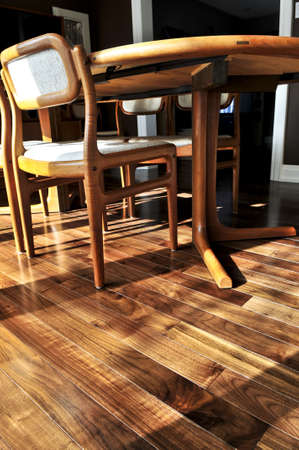 Hardwood walnut floor in residential home dining room Stock Photo - 4343761