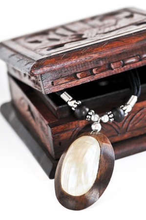 Beautiful handcrafted wooden box with aboriginal jewelry Stok Fotoğraf