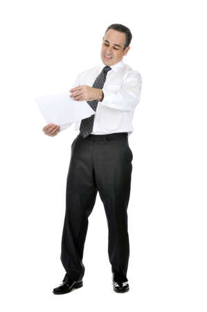 Business man in suit with confused expression holding papers Stock Photo - 4377706