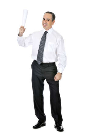 Business man in suit holding rolled up paper photo