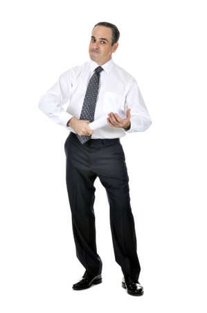 Business man in suit holding rolled up paper Stock Photo - 4377730
