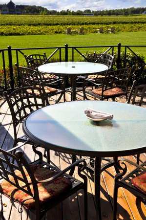 patio chairs: Patio chairs and tables near vineyard at winery Stock Photo