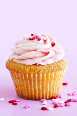 Single cupcake with pink icing and sprinkles