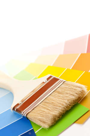 Clean paintbrush on rainbow of color card samples Stock Photo - 4508224