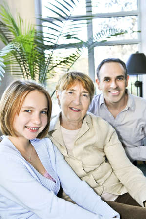 Happy family of three generations sitting together Stock Photo - 4501726
