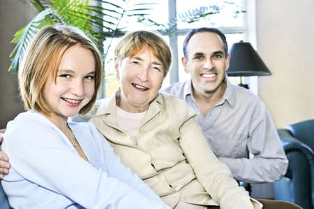 Happy family of three generations sitting together Stock Photo - 4616885