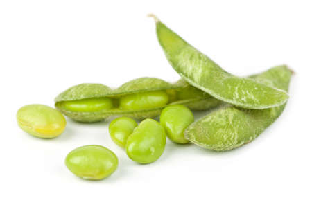 Edamame soy beans shelled and with pods