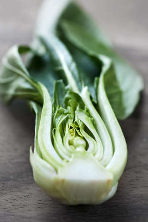 halved  half: Close up of halved green bok choy vegetable greens