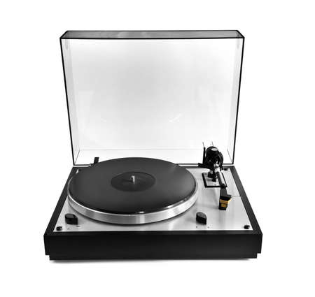 Isolated manual record player with clear plastic lid photo