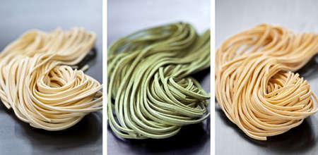 tricolour: Assorted bundles of colorful raw tagliolini pasta noodles
