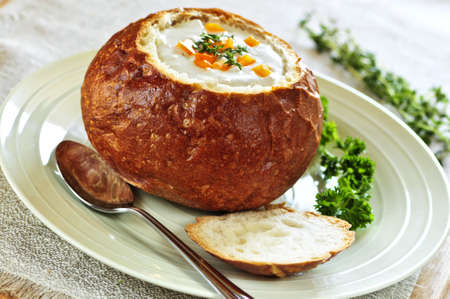 chowder: Lunch of soup served in baked round bread bowl