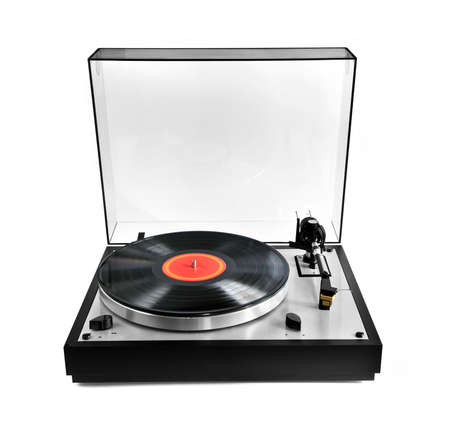 turning table: Isolated manual record player with spinning vinyl lp Stock Photo