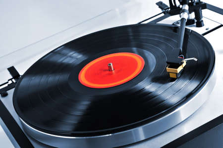 turntable: Vinyl record spinning on turntable close up