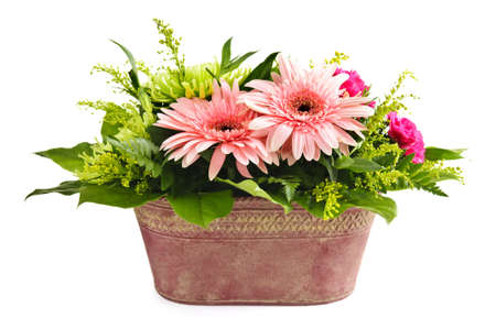 Isolated floral arrangement with gerbera and chrysanthemums photo