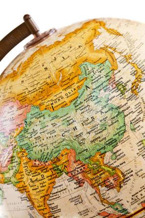 birma: Een deel van een wereldbol met een kaart van Azië Stockfoto