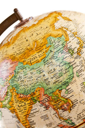 Part of a globe with map of Asia Stock Photo