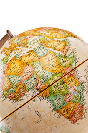 Part of a globe with map of Africa