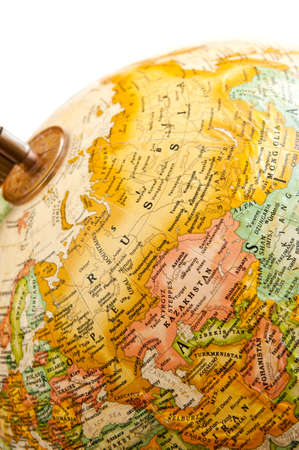 Part of a globe with map of Russia