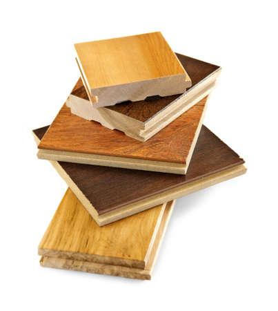 Isolé empilés les échantillons de sol en bois dur préfini Banque d'images