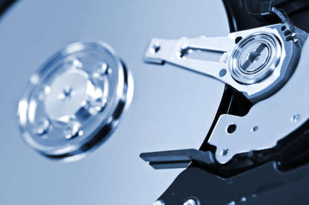 internals: Closeup of hard disk drive internal components