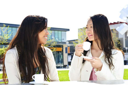 outdoor cafe: Two girl friends sitting and having drinks at outdoor mall