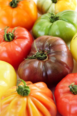 Close up group of multi colored heirloom tomatoes photo