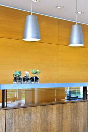 Modern interior with light fixtures and wood panels Banque d'images