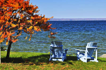 adirondack chair: Wooden muskoka chairs under fall tree at lake Stock Photo
