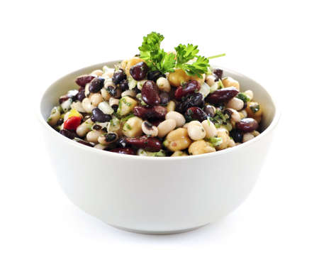 Isolated vegeterian salad of various beans in bowl close up Stock Photo - 5212772