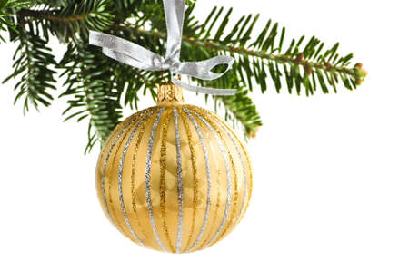 Golden Christmas decoration hanging on pine branch isolated on white Stock Photo - 5212784