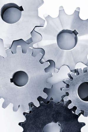 interlock: Interlocking industrial metal gears isolated on white