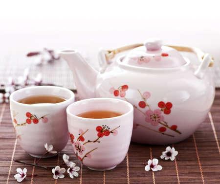 tea set: Green tea set with teapot and cups Stock Photo