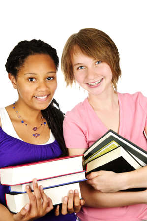 Isolated portrait of black teenage girl holding text books photo