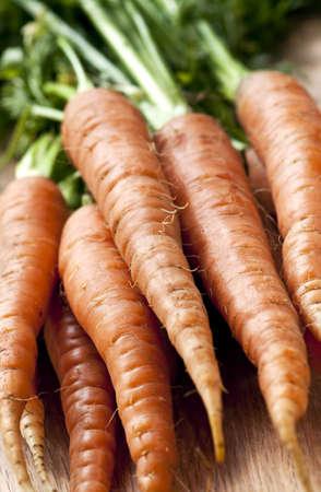 Bunch of whole fresh organic orange carrots photo