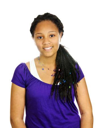 beautiful teen girl: Isolated portrait of beautiful black teenage girl