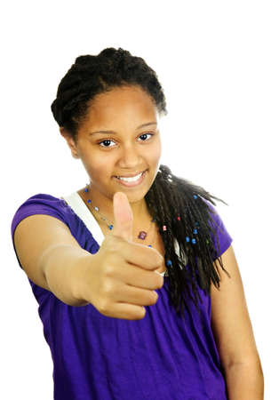 Isolated portrait of black teenage girl gesturing thumbs up photo