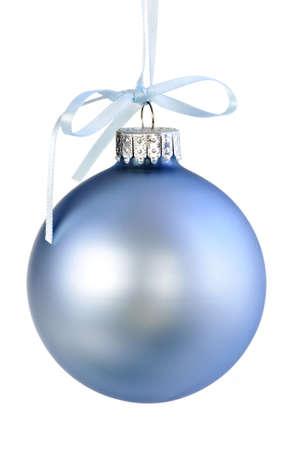 Blue Christmas decoration hanging isolated on white Stock Photo - 5314332