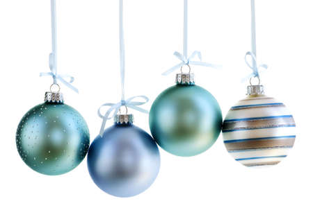 Various Christmas decoration hanging isolated on white photo