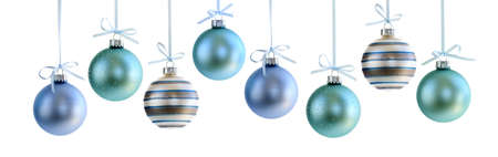 group of christmas baubles: Various Christmas decoration hanging isolated on white Stock Photo