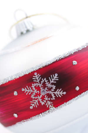 Closeup of red and white Christmas decoration