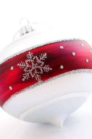 Closeup of red and white Christmas decoration photo