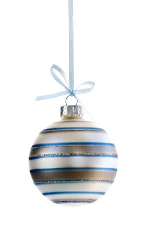 decor: Striped Christmas decoration hanging isolated on white Stock Photo