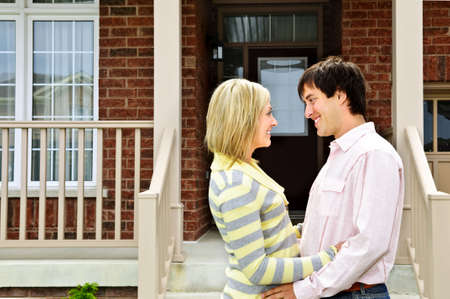 Young happy couple in love at home photo