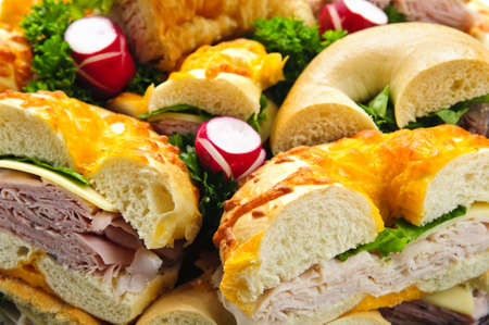 lunch tray: Assorted bagel sandwich platter with meat and vegetables Stock Photo