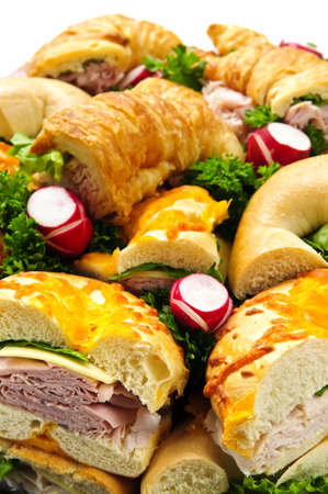 Assorted platter of sandwiches with meat and vegetables Banco de Imagens
